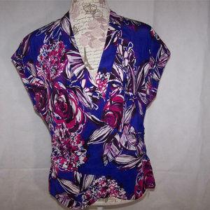 Trina Turk Silk Blouse Shirt Top Size 8 Faux Wrap